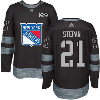 Adidas Men's York Rangers #21 Derek Stepan Stitched Black 1917-2017 100th Anniversary NHL Jersey