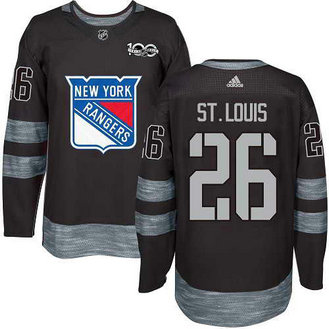 Adidas Men's York Rangers #26 Martin St.Louis Stitched Black 1917-2017 100th Anniversary NHL Jersey
