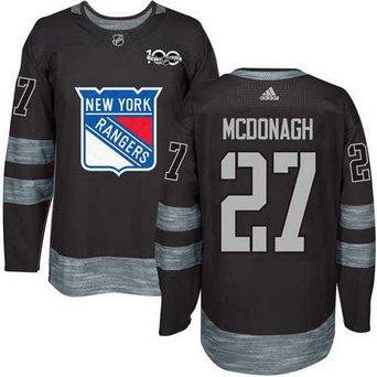 Adidas Men's York Rangers #27 Ryan McDonagh Stitched Black 1917-2017 100th Anniversary NHL Jersey