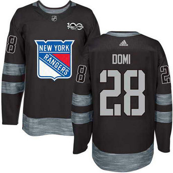 Adidas Men's York Rangers #28 Tie Domi Stitched Black 1917-2017 100th Anniversary NHL Jersey