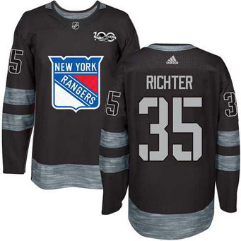 Adidas Men's York Rangers #35 Mike Richter Stitched Black 1917-2017 100th Anniversary NHL Jersey