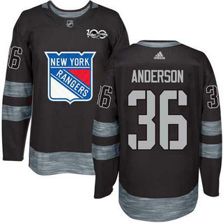 Adidas Men's York Rangers #36 Glenn Anderson Stitched Black 1917-2017 100th Anniversary NHL Jersey