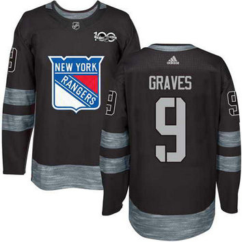 Adidas Men's York Rangers #9 Adam Graves Stitched Black 1917-2017 100th Anniversary NHL Jersey