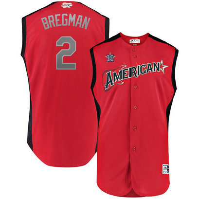 American League 2 Alex Bregman Red 2019 MLB All-Star Game Workout Player Jersey
