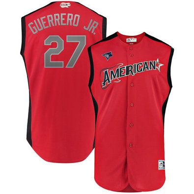 American League 27 Vladimir Guerrero Jr. Red 2019 MLB All-Star Game Workout Player Jersey