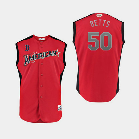 American League 50 Mookie Betts Red 2019 MLB All-Star Game Workout Player Jersey