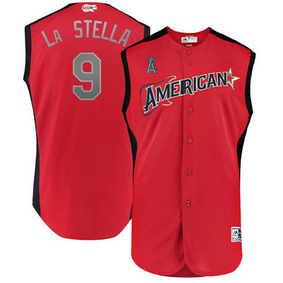 American League 9 Tommy La Stella Red 2019 MLB All-Star Game Workout Player Jersey