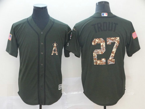 Angels 27 Mike Trout Olive Camo Salute To Service Cool Base Jersey