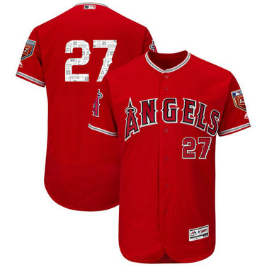 Angels 27 Mike Trout Red 2018 Spring Training Flexbase Jersey