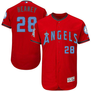 Angels 28 Andrew Heaney Red Father's Day Flexbase Jersey