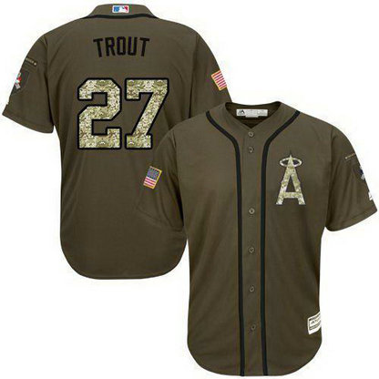 Angels Of Anaheim #27 Mike Trout Green Salute To Service Stitched Baseball Jersey