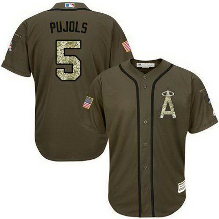Angels Of Anaheim #5 Albert Pujols Green Salute To Service Stitched Baseball Jersey