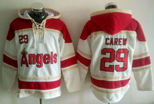 Angels of Anaheim #29 Rod Carew White Sawyer Hooded Sweatshirt MLB Hoodie