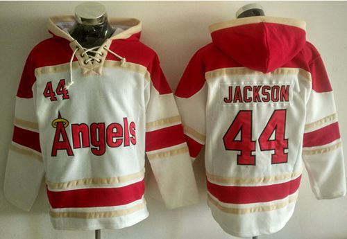 Angels of Anaheim #44 Reggie Jackson White Sawyer Hooded Sweatshirt MLB Hoodie