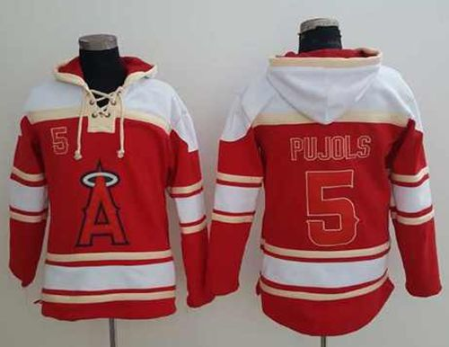 Angels of Anaheim #5 Albert Pujols Red Sawyer Hooded Sweatshirt MLB Hoodie