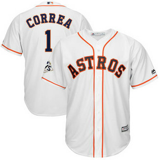 Astros #1 Carlos Correa White 2017 World Series Bound Cool Base Player Jersey