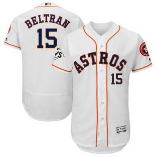 Astros #15 Carlos Beltran White 2017 World Series Bound Flexbase Player Jersey
