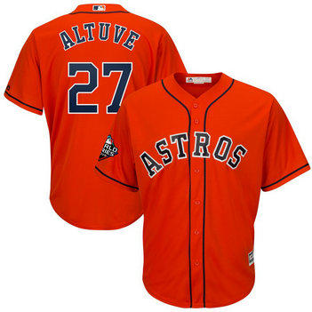 Astros #27 Jose Altuve Orange 2019 World Series Bound Cool Base Jersey