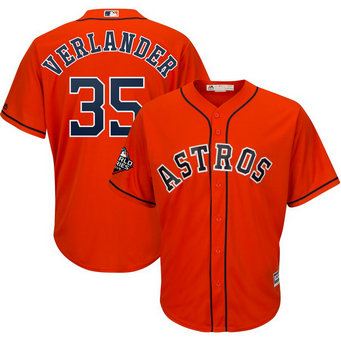 Astros #35 Justin Verlander Orange 2019 World Series Bound Cool Base Jersey