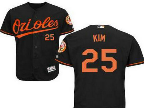 Baltimore Orioles #25 Hyun-Soo Kim Black Cool Base Majestic Baseball Jersey