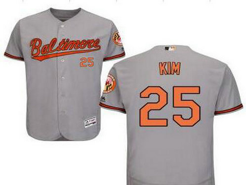 Baltimore Orioles #25 Hyun-Soo Kim Gray Road Cool Base Majestic Baseball Jersey