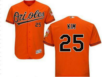 Baltimore Orioles #25 Hyun-Soo Kim Orange Cool Base Majestic Baseball Jersey