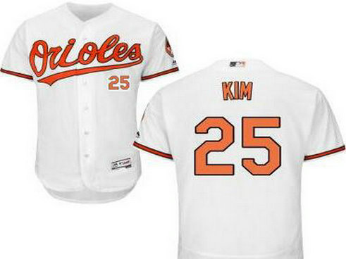 Baltimore Orioles #25 Hyun-Soo Kim White Home Cool Base Majestic Baseball Jersey