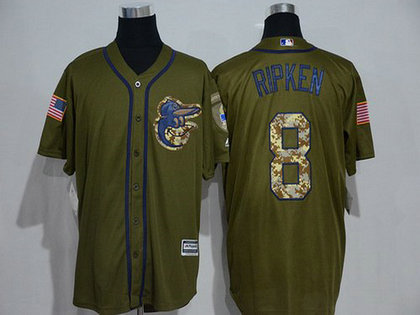 Baltimore Orioles #8 Cal Ripken Retired Green Salute To Service Majestic Baseball Jersey