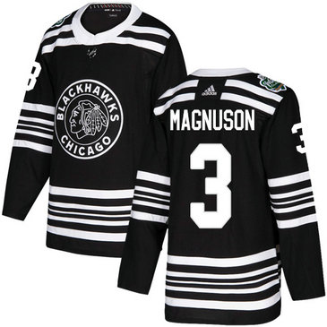 Blackhawks #3 Keith Magnuson Black Authentic 2019 Winter Classic Stitched Hockey Jersey