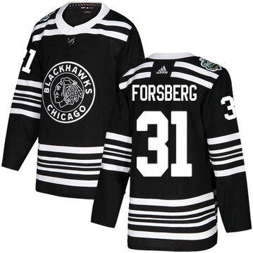 Blackhawks #31 Anton Forsberg Black Authentic 2019 Winter Classic Stitched Hockey Jersey