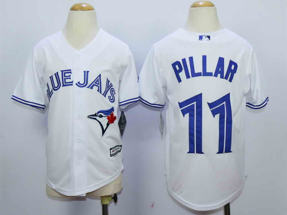 Blue Jays 11 Kevin Pillar White Youth New Cool Base Jersey