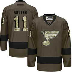 Blues #11 Brian Sutter Green Salute To Service Stitched NHL Jersey