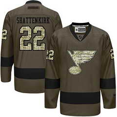Blues #22 Kevin Shattenkirk Green Salute To Service Stitched NHL Jersey