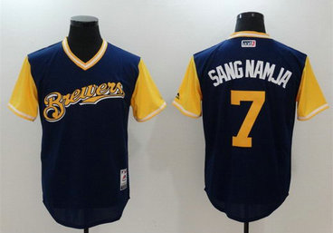 Brewers 7 Eric Thames Sang Namja Majestic Navy 2017 Players Weekend Nickname Jersey