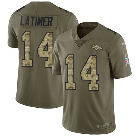 Broncos #14 Cody Latimer Olive-Camo Men's Stitched Football Limited 2017 Salute To Service Jersey