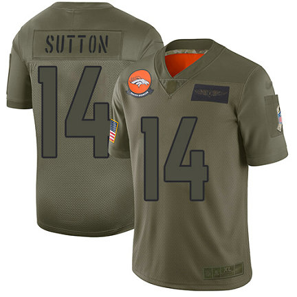 Broncos #14 Courtland Sutton Camo Men's Stitched Football Limited 2019 Salute To Service Jersey
