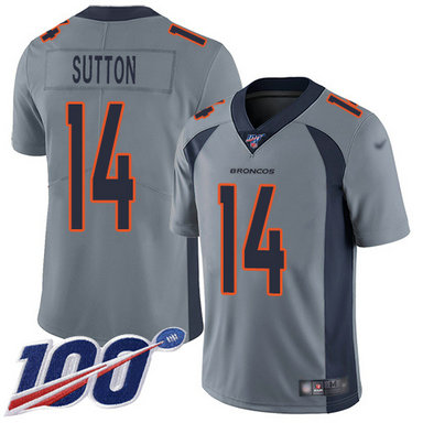 Broncos #14 Courtland Sutton Gray Men's Stitched Football Limited Inverted Legend 100th Season Jersey