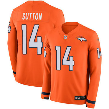 Broncos #14 Courtland Sutton Orange Team Color Men's Stitched Football Limited Therma Long Sleeve Jersey