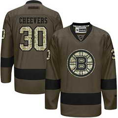 Bruins #30 Gerry Cheevers Green Salute To Service Stitched NHL Jersey