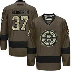 Bruins #37 Patrice Bergeron Green Salute To Service Stitched NHL Jersey