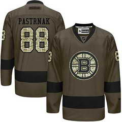 Bruins #88 David Pastrnak Green Salute To Service Stitched NHL Jersey