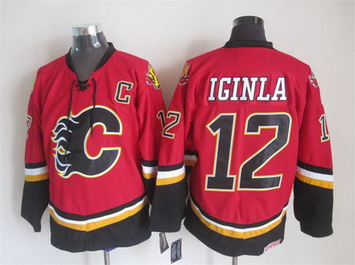 Calgary Flames #12 Jarome Iginla 2003 Red Throwback CCM Jersey