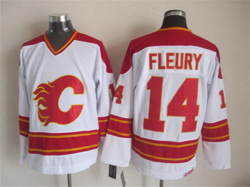Calgary Flames #14 Theoren Fleury White Throwback CCM Jersey