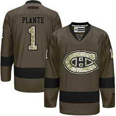 Canadiens #1 Jacques Plante Green Salute To Service Stitched NHL Jersey