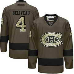 Canadiens #4 Jean Beliveau Green Salute To Service Stitched NHL Jersey