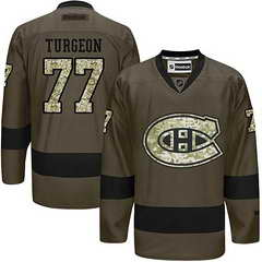 Canadiens #77 Pierre Turgeon Green Salute To Service Stitched NHL Jersey