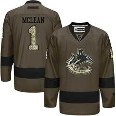 Canucks #1 Kirk Mclean Green Salute To Service Stitched NHL Jersey