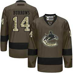 Canucks #14 Alex Burrows Green Salute To Service Stitched NHL Jersey