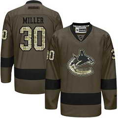 Canucks #30 Ryan Miller Green Salute To Service Stitched NHL Jersey