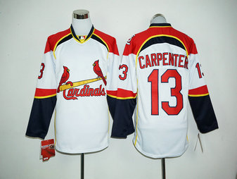 Cardinals 13 Matt Carpenter White Long Sleeve MLB Jersey